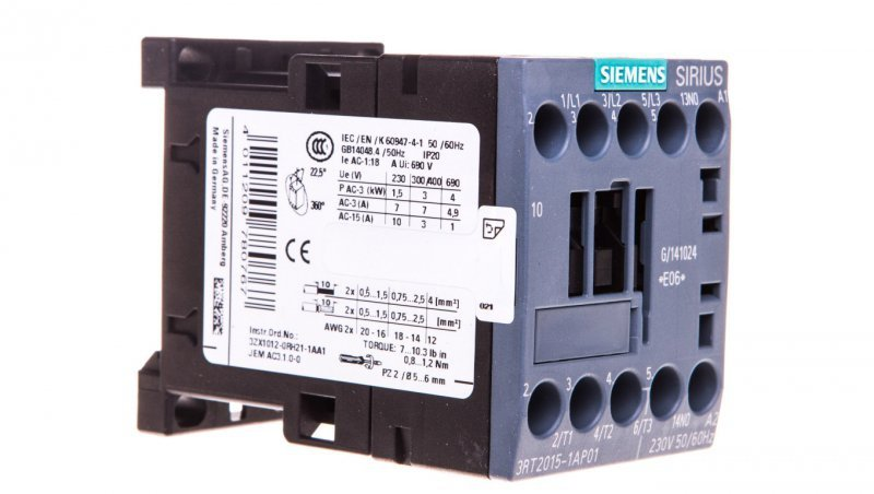Stycznik mocy 7A 3P 230V AC 1Z 0R S00 3RT2015-1AP01