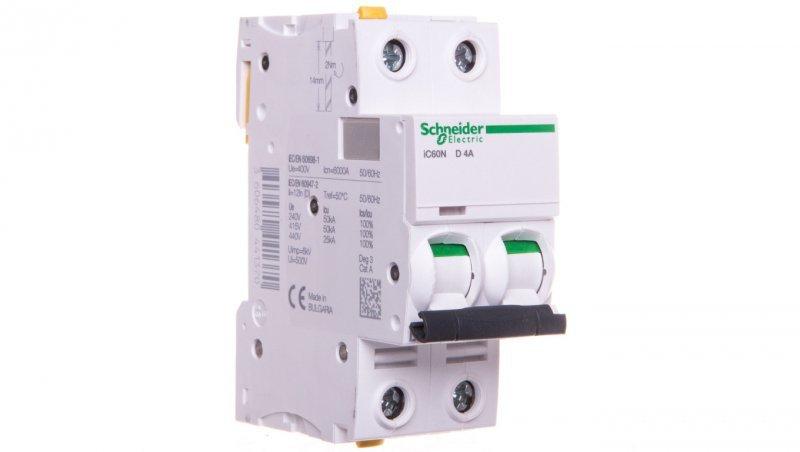 Wyłącznik nadprądowy 2P D 4A 6kA AC iC60N-D4-2 A9F05204