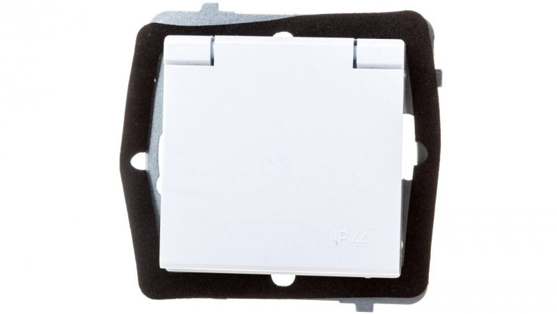 SONATA Gniazdo bryzgoszczelne z/u IP44 klapka biała GPH-1RZ/m/00/w
