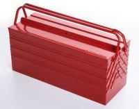 Werkzeugkoffer Werkzeugkasten Stahlblech 430mm 7 Fächer rot
