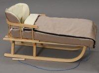 Holzschlitten mit Rückenlehne Winterfußsack 108cm Mokka