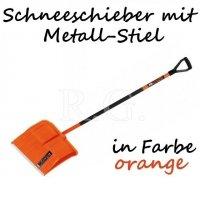 Schneeschieber Schneeschaufel Metall-Stiel in orange