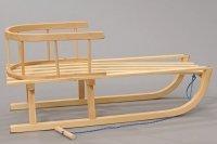 Holzschlitten mit Rückenlehne Schlitten Rodel Zugseil