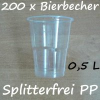 200 Bierbecher 0,5 L Transparent