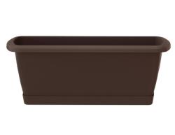 Balkonkasten Geländerkasten Blumentopf Respana Set 400 braun + Metalhalterungen
