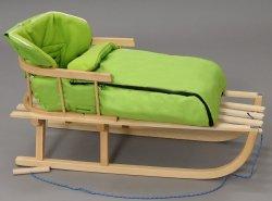 Holzschlitten mit Rückenlehne Winterfußsack 90cm Grün