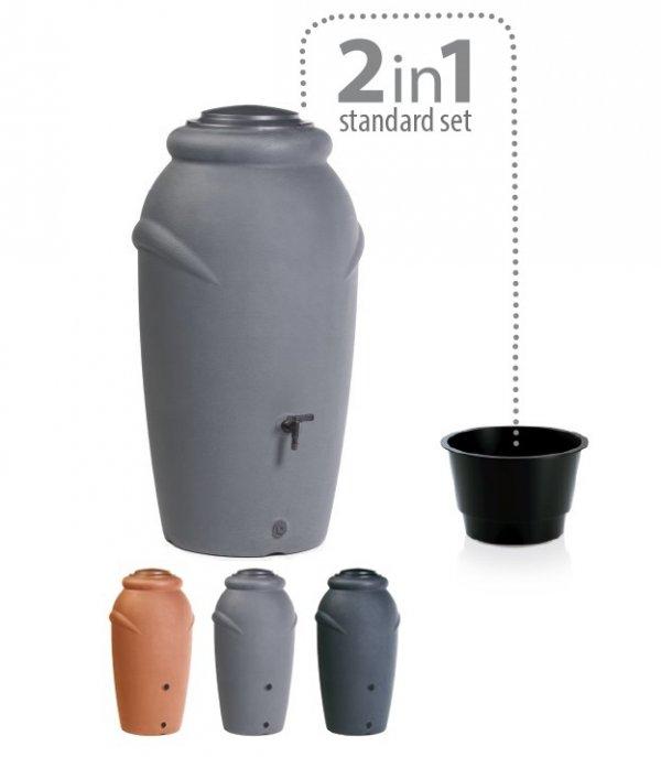 Regentonne Regenwassertonne Regenbehälter 210L Grau
