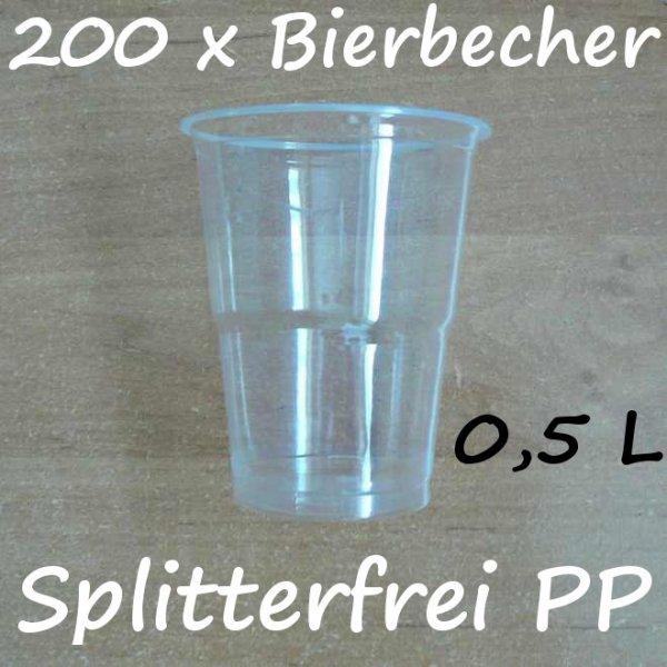 200 Bierbecher 0,5 L Transparent