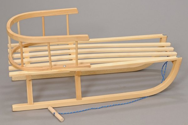 Holzschlitten mit Rückenlehne Winterfußsack 90cm Braun