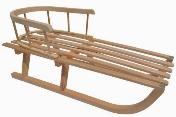 Holzschlitten mit Rückenlehne B-Ware