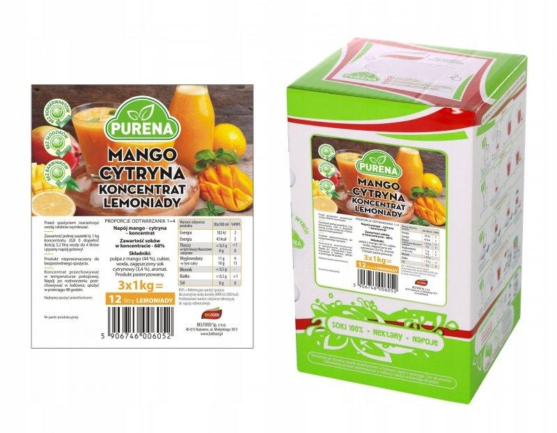 Lemoniada mango-cytryna koncentrat 15l/3kg