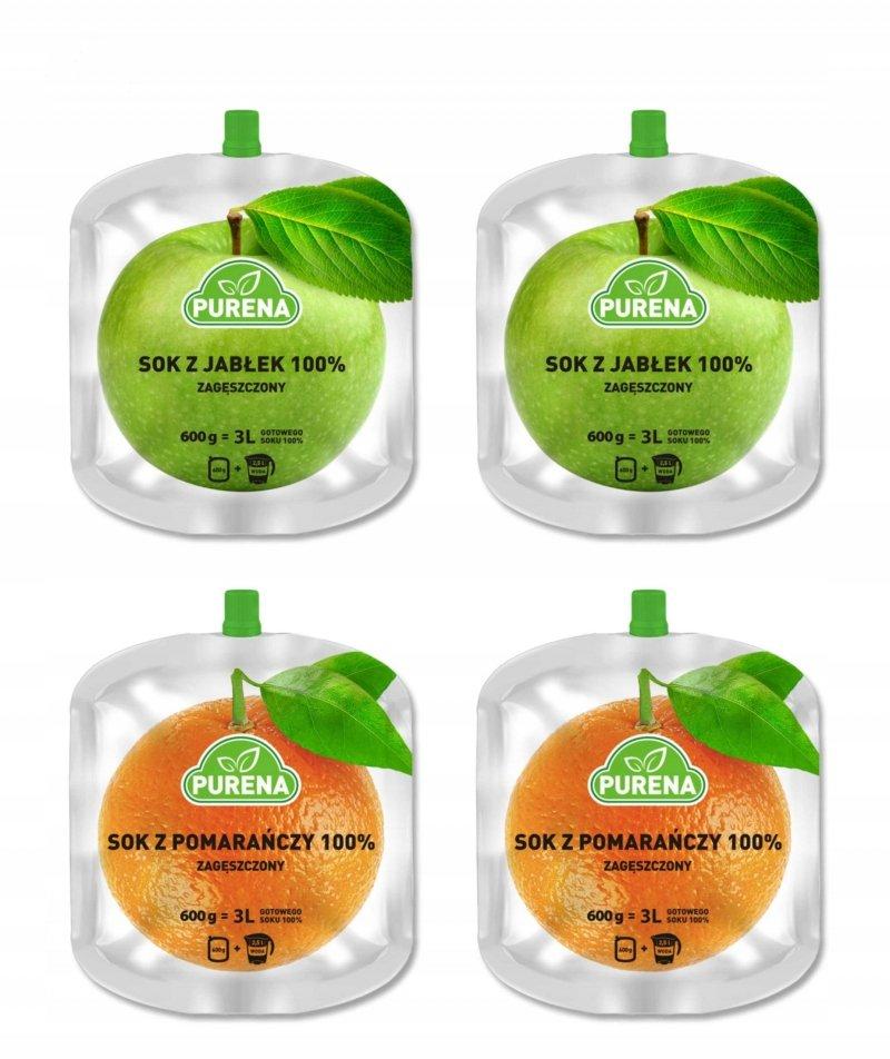 Sok jabłkowy i pomarańczowy 100% zagęszczony mix 600g x 4szt = 12 l + dzban gratis