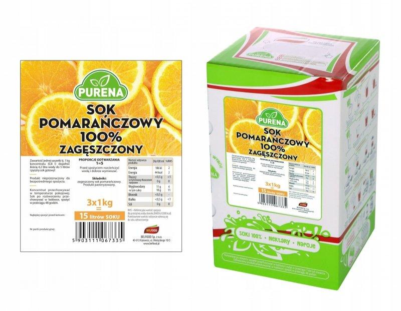 Sok pomarańczowy 100% zagęszczony 15l/3kg