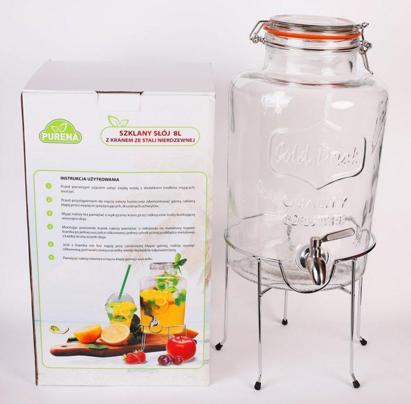 Słój szklany 8 litrów z podstawą