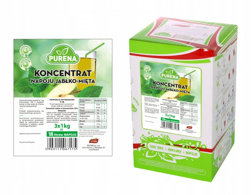 Napój jabłko-mięta koncentrat 18l/3kg