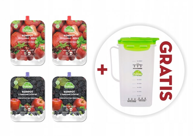 Kompoty owocowe mix koncentraty 340g x 4 szt = 8l  + dzbanek gratis