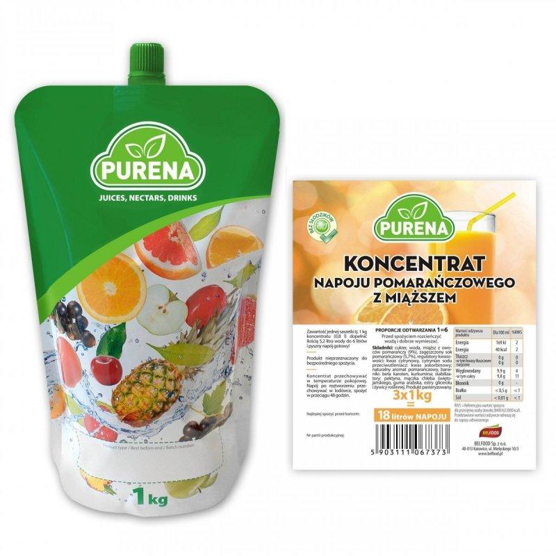 Napój pomarańczowy z miąższem koncentrat 6l/1kg