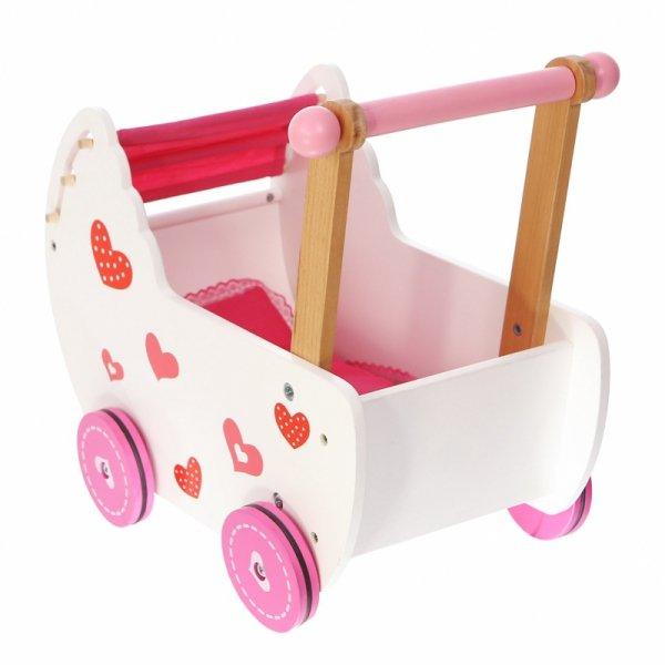 Holzpuppenwagen Bettzeug Holzwagen Holzspielzeug Lauflernwagen Schiebwagen