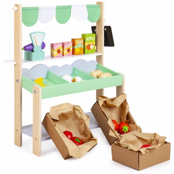 Kinder Kaufmannladen GEMÜSESTAND Holz+37tlg Zubehör Supermarkt Spielzeug ECOTOYS