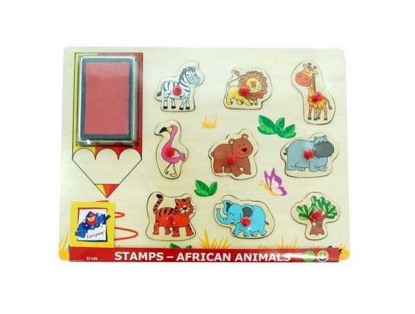2IN1 Steckpuzzle + Stempel SAFARI Holzpuzzle