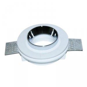 Oprawa Oczko V-TAC GIPS GU10 Okrągła Wpuszczana G-K Biały+Chrom VT-866 5 Lat Gwarancji