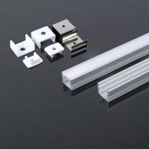 Profil Aluminiowy V-TAC 2mb Anodowany, Klosz Mleczny VT-8116