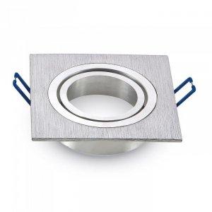 Oprawa Oczko V-TAC Aluminiowa Odlew 1xGU10 Kwadrat Aluminium Szczotkowane VT-782