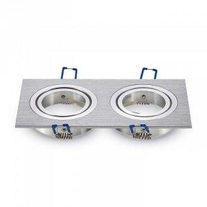 Oprawa Oczko V-TAC Aluminiowa Odlew 2xGU10 Kwadrat Aluminium Szczotkowane VT-783
