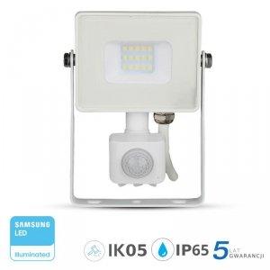 Projektor LED V-TAC 10W SAMSUNG CHIP Czujnik Ruchu Funkcja Cut-OFF Biały VT-10-S 3000K 800lm 5 Lat Gwarancji