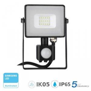 Projektor LED V-TAC 10W SAMSUNG CHIP Czujnik Ruchu Funkcja Cut-OFF Czarny VT-10-S 6400K 800lm 5 Lat Gwarancji
