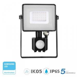 Projektor LED V-TAC 30W SAMSUNG CHIP Czujnik Ruchu Funkcja Cut-OFF Czarny VT-30-S 6400K 2400lm 5 Lat Gwarancji