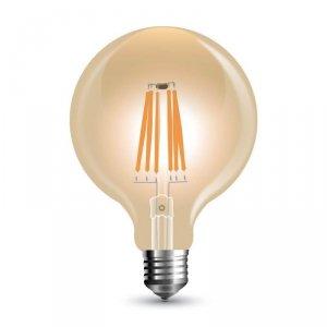 Żarówka LED V-TAC 8W Filament E27 Kula G125 Bursztyn Ściemnialna VT-2018D 2200K 700lm