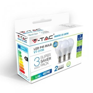 Żarówka LED V-TAC 5.5W E14 P45 Kulka (Opak. 3szt) VT-2156 6400K 470lm