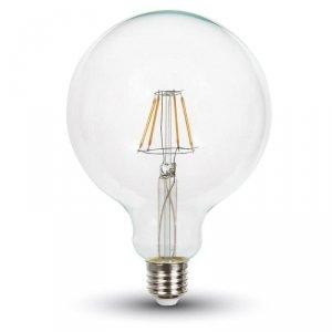 Żarówka LED V-TAC 6W Filament E27 G125 Przeźroczysta VT-2147 6400K 806lm