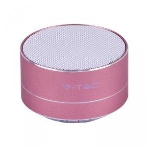 Przenośny Metalowy Głośnik Bluetooth Micro SD Mikrofon 400mah Różowy V-TAC VT-6133