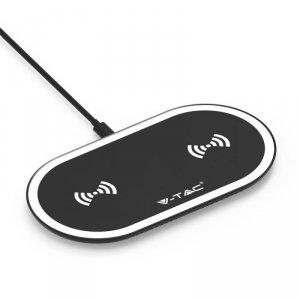 Ładowarka Indukcyjna V-TAC podwójna 2x5W 3A USB Czarny/Biały VT-1213