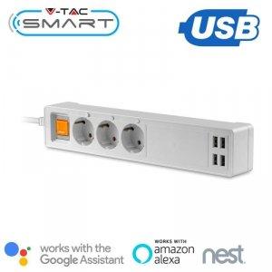 Listwa Przedłużacz 3-gniazda 4 Porty USB V-TAC WiFi Amazon Alexa, Google Home, Nest VT-5018