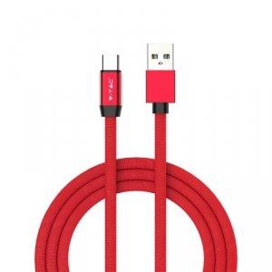 Przewód Micro USB V-TAC Typ C 1M Czerwony Seria Złota VT-5342