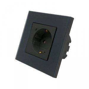 Gniazdo Szklane WiFi V-TAC Czarne Amazon Alexa, Google Home, Nest VT-5134