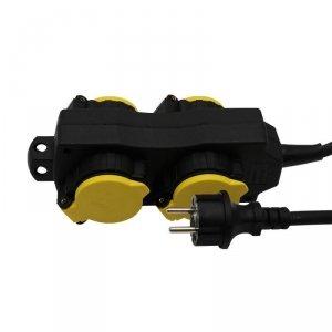 Przedłużacz Ogrodowy V-TAC 4 Gniazda z klapką 3m, Podświetlany Włącznik, IP44 Czarno/Żółty Schuko VT-1124-3
