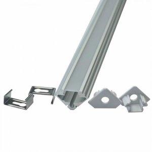 Profil Aluminiowy V-TAC 2mb Anodowany, Mleczny Klosz, Kątowy (Opak. 2szt) VT-7104