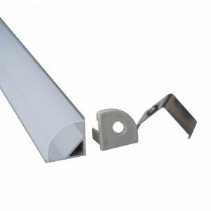 Profil Aluminiowy V-TAC 2mb Anodowany, Mleczny Klosz, Kątowy (Opak. 2szt) VT-7109