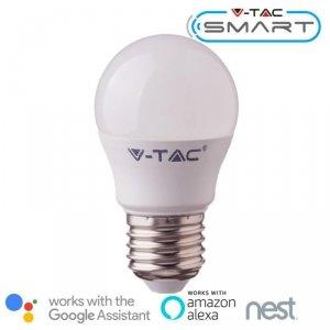 Żarówka LED V-TAC 4.5W E27 Kulka G45 SMART WiFi RGB+WW+CW VT-5124 RGB+2700K-6400K 300lm