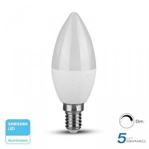 Żarówka LED V-TAC SAMSUNG CHIP 5.5W E14 Świeczka Ściemnialna VT-293D 3000K 470lm 5 Lat Gwarancji