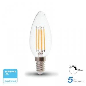 Żarówka LED V-TAC SAMSUNG CHIP 4W E14 Filament Świeczka Ściemnialna VT-254D 2700K 350lm 5 Lat Gwarancji