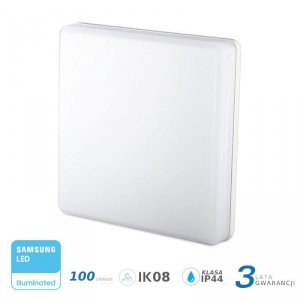 Plafon Natynkowy Kwadrat V-TAC 15W LED SAMSUNG CHIP IP44 100lm/W VT-8033 3000K 1500lm 3 Lata Gwarancji