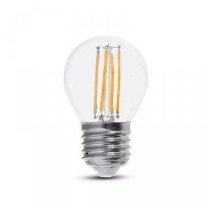Żarówka LED V-TAC 6W Filament E27 Kulka G45 Przeźroczysta VT-2366 4000K 600lm