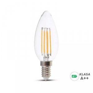 Żarówka LED V-TAC 6W Filament E14 Świeczka A++ Przeźroczysta VT-2327 6400K 800lm