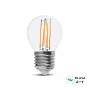 Żarówka LED V-TAC 6W Filament E27 Kulka G45 A++ Przeźroczysta VT-2386 3000K 800lm