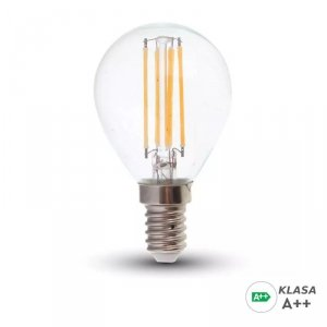 Żarówka LED V-TAC 6W Filament E14 Kulka P45 A++ Przeźroczysta VT-2486 3000K 800lm